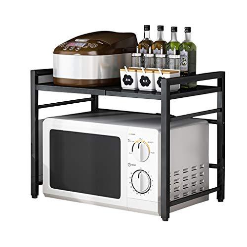 Soporte Microondas Horno Extensible, Rejilla Microondas, con 3 Ganchos, Mueble Encimera de Cocina, Organizador Estanteria Multifuncion, Estante de Almacenamiento de Cocina, Negro ( Color : Black )