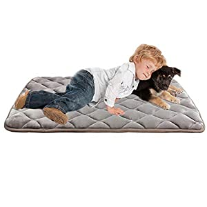 "furrybaby Dog Bed Mat Crate Mat with Anti-Slip Bottom Machine Washable Pet Mattress for Dog Sleeping (XL 44×32"", Sliver Grey Mat)"