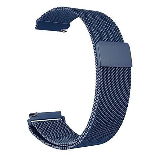 Correa magnética de metal para reloj de malla milanesa con cierre rápido para mujeres y hombres, 16 mm, 18 mm, 20 mm, 22 mm, 24 mm (azul, 22 mm)