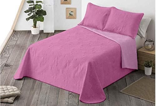 Energy Colors Textil-Hogar - Chil Cama 150 y 135 (250 x 265 cm) - Colcha Boutí Verano Reversible Liso Bicolor con 2 Funda Cojín 50 x 70 cm (Malva)
