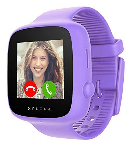 XPLORA GO - Telefon Uhr für Kinder (SIM-frei) - Anrufe, Nachrichten, Schulmodus, SOS-Funktion, GPS-Standort, Kamera und Schrittzähler - 2 Jahr Garantie (LILA)