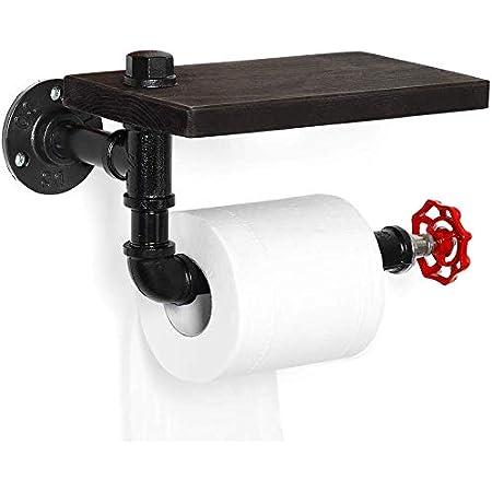 HAITRAL Porte-rouleau de papier toilette, rack industriel pour salle de bain, buanderie, maison avec étagère en bois rustique et tube en fer