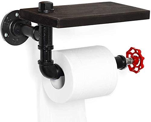 Toilettenpapierhalter - Industrielles Tissue Roll Rack für Badezimmer, Waschraum, Haus mit rustikalem Holzregal und Eisenmetallrohr