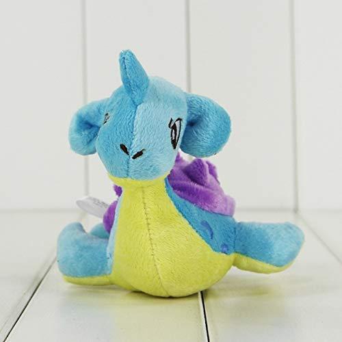 Anime Cute Dragonite Knuffel Squirtle Bulbasaur Charmander Charizard Lugia Mudkip Licario Lapras Totodile Stuffed Doll, 12cm Larpras