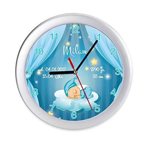 Kinderzimmer Uhr Baby, Junge, Geburt, Geburtsdaten Wanduhr zur Geburt & Taufe