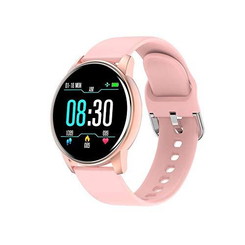 VCX Oxígeno Presión Arterial del Ritmo cardíaco Reloj Elegante Hombres y Mujeres IP67 a Prueba de Agua Deportes Ruta pronóstico del Tiempo SmartWatch (Color : Pink)