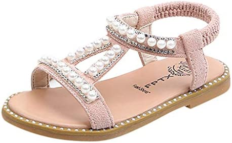 Zapatos para Bebé Niñas,Riou Niños Perla Cristal Princesa Soltera Zapatos Romanos Sandalias de Vestir en Cuero Zapatillas Verano Calzado
