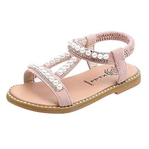 WUAI Kids Baby Girls Summer Sandals Fashion Boho Princess Flat Shoes Crystal Beach Roman Sandals 1-6Years(Pink,12-18Months)