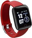 Reloj inteligente deportivo con banda inteligente Bluetooth, pulsera de frecuencia cardíaca, monitor de presión arterial, resistente al agua (color: verde) y rojo