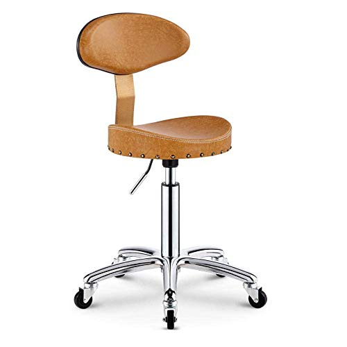 Tabouret de coiffeur , Tabouret de la clinique avec roues,tabouret de selle inclinable avec siège en tissu en lin marron,hauteur réglable 44-54 cm,poids supporté 160 kg,tabouret de laboratoire avec do