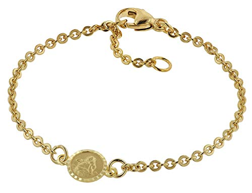 trendor Armband für Babys 333 Gold/8 Kt mit Engel-Plakette 14 cm Mädchen und Jungen Armband, modische Geschenkidee, Armband Echtgold, Armschmuck, 75090