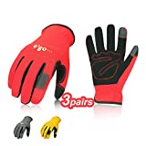 Vgo 3Pairs Nubuck Synthetic Leather Work Gloves (Size XL,Red...