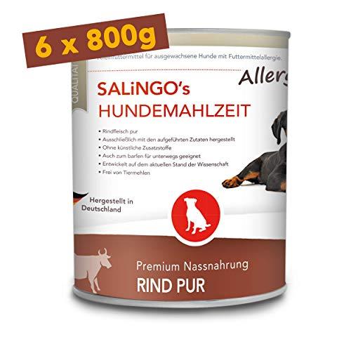SALiNGO Premium Nassfutter | Hundefutter nass Rind PUR | getreidefrei | Single Protein | hypoallergen | 6x800g
