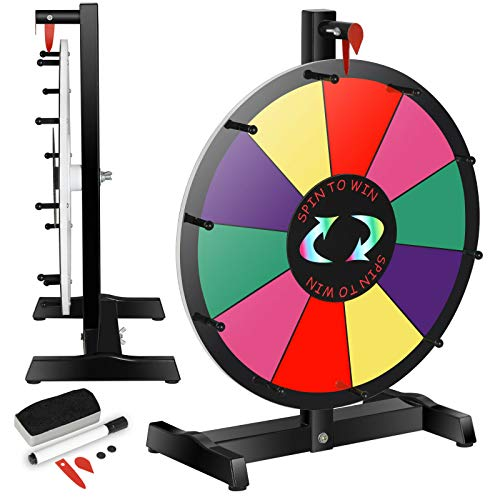 Read About MB-THISTAR 15″ Tabletop 10 Slot Color Prize Wheel of Fortune Spinning Game Editable Eraser