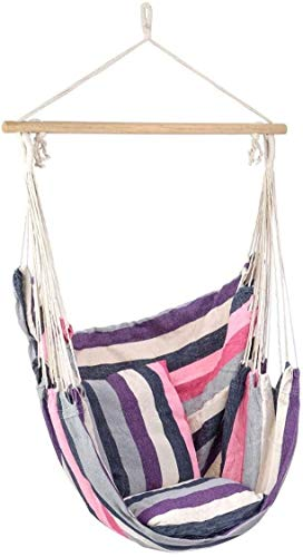 XCJJ Large Hammock Swing Chair, Relaxing Outdoor Garden Seat, 2 Soft Padded Cushions, Indoor, Outdoor, Beach Stripe Cotton Canvas (Purple) (Color : Purple)