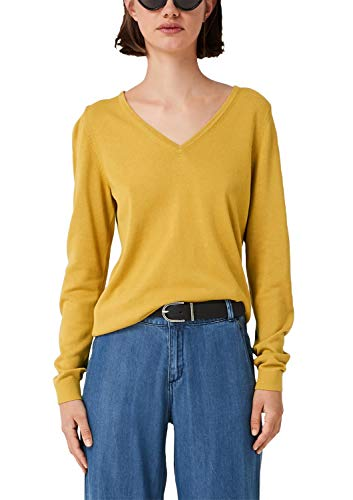 s.Oliver Damen Pullover mit V-Neck sunflower yellow 36