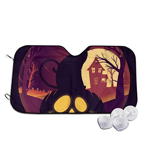 Halloween volle maan met Jack O lantaarn en zwarte voorruit zon schaduw vizier voorruit glas voorkomen dat de auto van verwarming tot binnen op maat