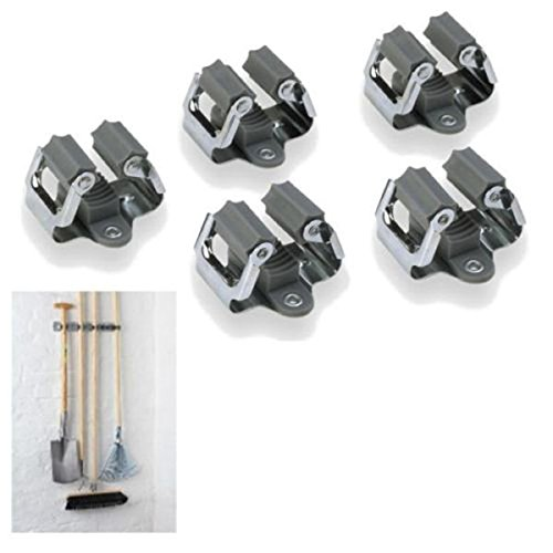 Tinksky Mop and Broom Holder Wall Mounted Garden Storage Rack,Pack of 5 (Grey)