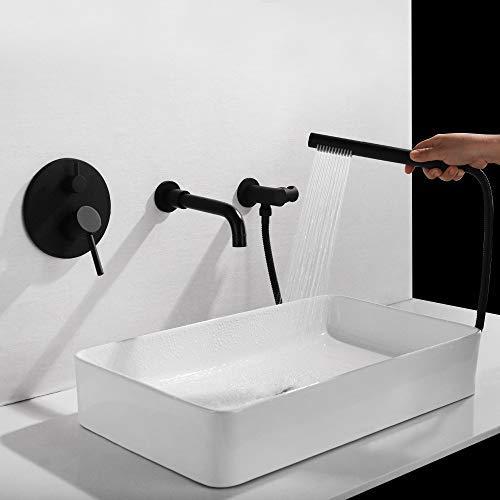 ZYY Cobre En la pared oculta caliente y frío baño lavabo grifo de la bañera 360 ° de rotación del grifo 3 Hoyo 2 Función sobrealimentado ducha de mano hermoso determinado práctica ( Color : Chrome )