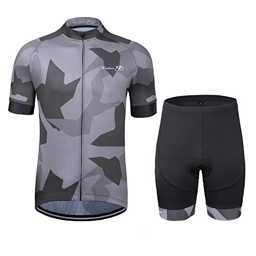 Men's Cycling Jersey Set Short Sleeve Road Bicycle Clothing Shirts Shorts with 3D Padded Breathable/Moisture Wicking Black-Grey