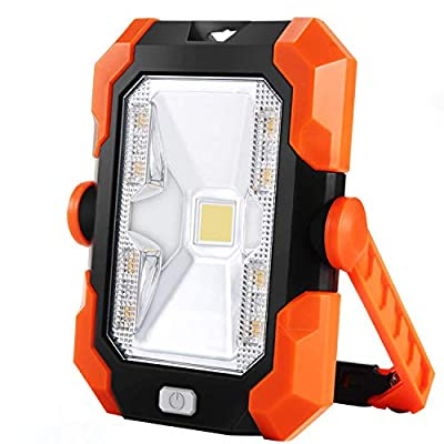 Portable LED Work Light,BEIEN Rechargeable Solar Work Lights 4400 mAh,Waterproof COB Flood Light with Magnetic Hanging Hook,30W 1000LM for Car Repairing,Camping,Hiking,Backpacking,Fishing