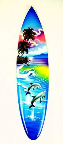 Asia Design Tabla de surf en miniatura con soporte de madera, decoración n.º 11 (30 cm)