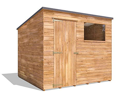 Dunster House Pent Roof Pressure Treated Wooden Garden Storage Building Workshop Dad's Shed II (W2.4m x D2.4m)
