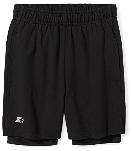 """Starter Boys' 7"""" Two-in-One Running Short, Amazon Exclusive, Black, L (12/14)"""