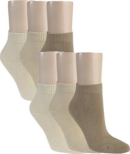 Vitasox 15270 Damen Kurzsocken Baumwolle Sneakersocken uni Damensocken ohne Naht Natur-Töne 6er Pack 39/42
