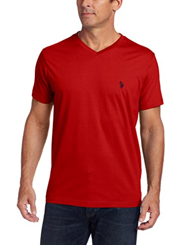 U.S. Polo Assn. - Playera para Hombre con Cuello en V, Rojo (Engine Red), Medium