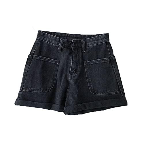 Generic10 Jeans da Donna Studenti Pantaloncini di Jeans retrò Sottili Pantaloni per l'usura Selvaggia Tasche Sottili Pantaloni Larghi Arricciati a Gamba Larga