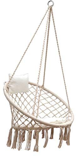 AMANKA Makramee Hängesessel mit Kissen 80cm Korbschaukel bis 120kg Boho Sessel Indoor Outdoor Beige