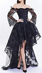EUDOLAH Women's Gothic Steampunk Steel Boned Corset Dress Skirt Set Costume (UK 14-16 (2XL), Black) #4