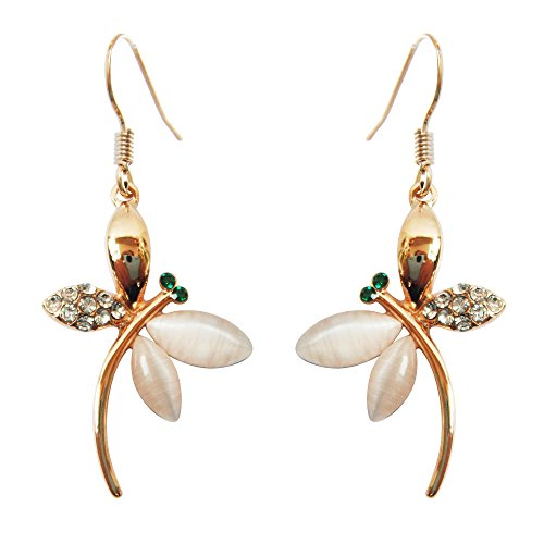Navachi 18k Gold Plated White Crystal Created-Opal Dragonfly Dangle Earrings