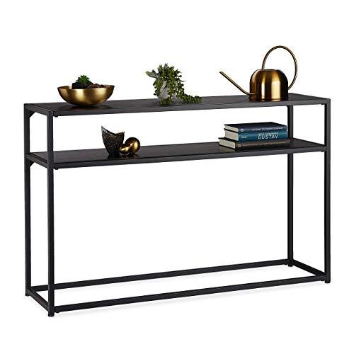 Relaxdays Konsolentisch, 2 Ablagen, aus Metall & MDF, platzsparend, schmaler Beistelltisch, 70 x 110 x 30 cm, schwarz, Metall