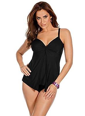 Miraclesuit Women's Swimwear Love Knot Sweetheart Neckline Underwire Bra Tankini Bathing Suit Top, Black, 10