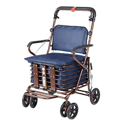 SXRNN Aluminium Rollator Faltbar und Leicht Gehwagen mit gepolstertem Sitz und Korb mit Untersitz für Senioren mit eingeschränkter Mobilität Laden Sie 120 kg, Marineblau