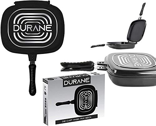 Bahob Double Side Grill Fry Pan 32cm Non-Stick Grill Magic Pan Griddle Cookware Aluminum Magic Foldable Flipping Sealed Cooking Equipment (Black)