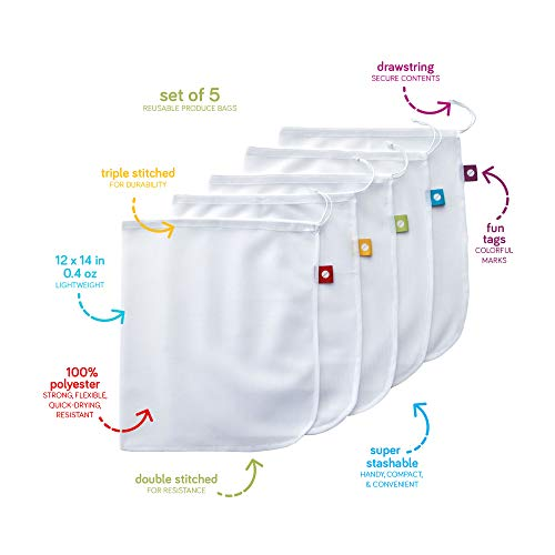 Flip & Tumble Reusable Produce Bag for Fruits and Veggies, White, One Size (Model:PBNA001)