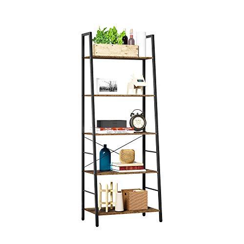 HOMEFORT Industrial Bookcase, 5-Tier Vintage Bookshelf, Ladder-Shaped Shelf, Open Etagere Bookcases, Freestanding Display Storage Organizer, Tall Wood Shelving Unit, for Living Room, Bedroom, Office