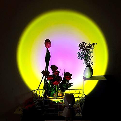 DULG Lámpara LED de proyector de luz Nocturna, Robot de rotación de 360 °, lámpara de Arco Iris al Atardecer, lámpara de proyección de luz LED de atmósfera romántica USB para decoración de Pared de
