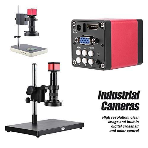 Telecamera per microscopia industriale, 13MP 60F / S Telecamera per microscopio industriale con uscita HDMI VGA nera(A)