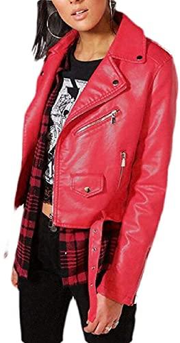 KarlMRush Women PU Leather Coats Jackets Lapel Loose Moto Biker Coat Jacket with Belted