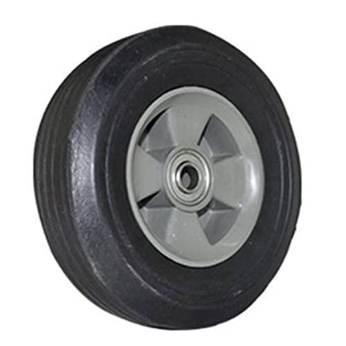 Rueda de goma dura para carretilla de 20 cm de diámetro y 5,5 cm de grosor, con dibujo para conocer el desgaste. Neumático de goma para pavimentos lisos o poco rugosos válida para ejes de 2 cm
