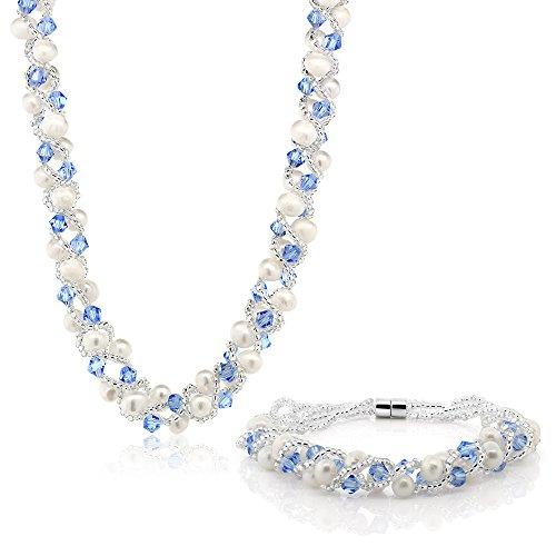 Gem Stone King 17 Inch White Cultured Freshwater Pearl & Blue Crystal Mash Necklace + Bracelet 6.5 Inch