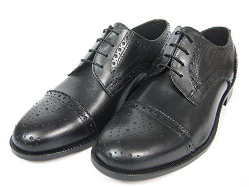 Giorgio Scarpe Giorgio Scarpe 1317 Derby Cap Toe Kappe Leder Schuh Ledersohle Handgenäht schwarz/Whisky