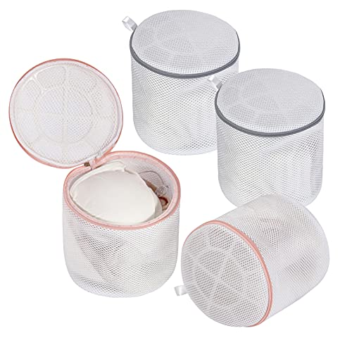 MARMINS 4 Pack Bra Washing Bags for Laundry, 7 x 7 Inches Bra Bags for Washing Machine, Lingerie Bags for Laundry (Thickened Sandwich Fabric)
