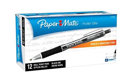 Paper Mate Profile Elite Retractable Ballpoint Pens, Bold (1.4mm), Black, 4 Count