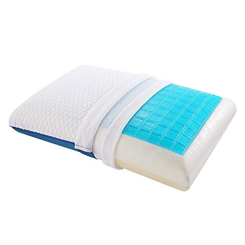 Nesaila Gel Memory Foam Pillow and Cooling Pillow,Standard Bed Pillows for Sleeping, Side and Back Sleepers Pillow (Blue White)