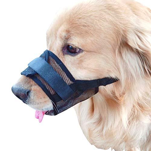 Gulunmun Einstellbares Leder-Maulkorb für Hunde, Schutzmaske für Haustiere, verhindert das Beißen, Kauen, Bellen Braun, Groß, Schwarz (mittlerer Umfang der Schnauze: 18-24 cm)